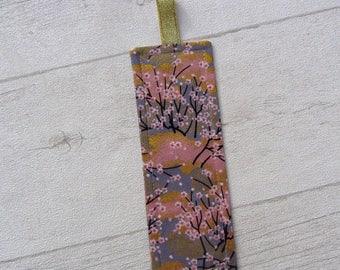 Bookmark Golden, flowers, pink bookmark bookmark fabric Japanese fabric