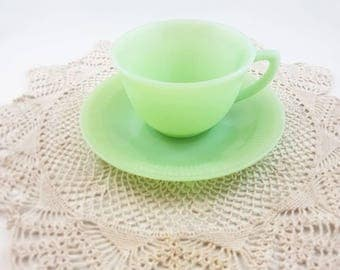 Fire King, Jadeite, Jane Ray Pattern, Green Glass Teacup & Saucer, Vintage 1950's Jadeite Anchor Hocking Fire-King, Fire King