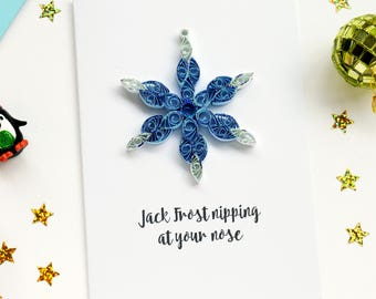 Set of 4 Snowflake Card, Multipack cards, Quilled Christmas cards, 3D Christmas Card, Holiday Card, Xmas Card, Greetings Card