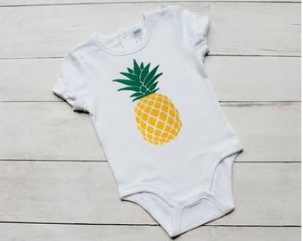 Pineapple Baby Onesie. Summer Onesie. Beach Onesie. Vacation Onesie. Baby Girl Onesie