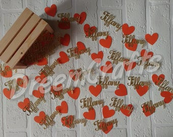 Name Confetti. Heart Confetti. Personalized Confetti. 75-80 pieces.