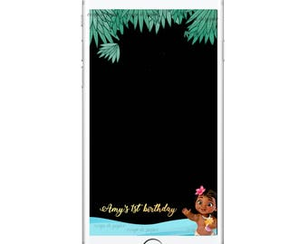 Customized Baby Moana Snapchat Filter, 1st birthday geofilter, Moana Birthday Party, Aloha Party, Moana Baby Shower