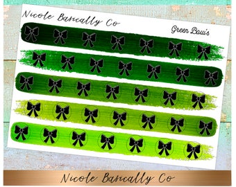 Bow Icons in Green Paint Strokes Planner Stickers