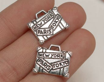 set of 50, travel charms, suitcase charms, world charms, new york charms, paris charms, tokyo charms, wholesale charms, antique silver,