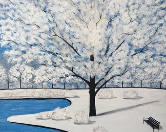 Winterland .Acrylic on canvas panel,painting .51cm x 41cm