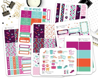 Pink Puppy Deluxe Weekly Kit - Planner Stickers- Pink Weekly Kit