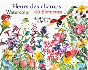 "ON SALE 30% Watercolor Flowers Clipart: ""FLORAL Clip Art"" Wedding clipart Field flowers Wedding invitation diy elements  hand painted clipar"