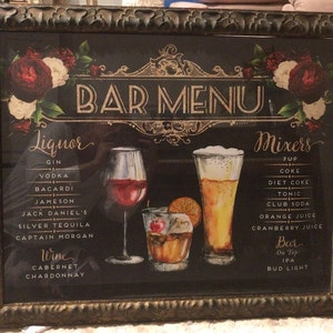 Wedding signature drinks bar menu blush flowers burgundy buyer photo holly call who reviewed this item with the etsy app for iphone junglespirit