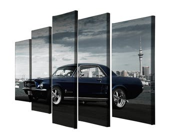 5 Panels Ford Mustang Sports Car Printed on Canvas Wall Art Picture for Home Décor, Contemporary Artwork, Split Canvases