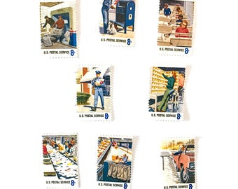 8 x 1973 Postal People UNUsed Vintage Postage Stamps - Mailman - Mailbox USPS - for mailing, stamp collecting, invites, letters, collage