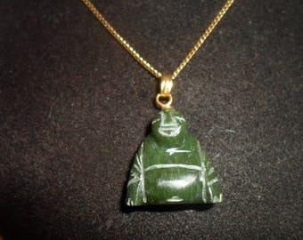 "Vintage Jade Buddah Pendant with 18""Goldtone Chain"