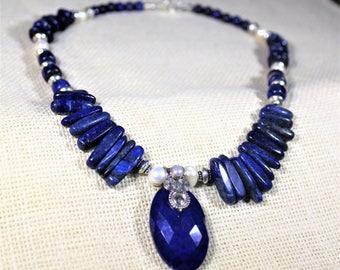 Lapis Lazuli necklace, blue necklace, Lapis choker, bib necklace