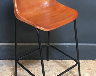 Industrial Distressed Leather Bar Stool