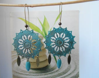 turquoise sequin bronze turquoise earrings