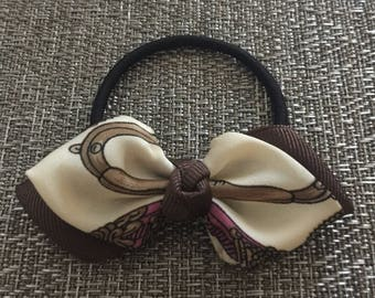 Handmade Brown Ribbon Bow with Sateen Ivory Tie Accent Ponytail Holder