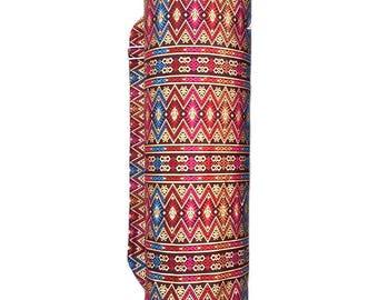 Handmade Beautiful Thai Gold Print Fabric Yoga And Pilates Mat bag Carrier