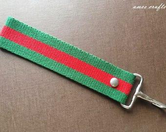 Handmade Red and Green Fabric KeyFob Wristlet Key Ring KeyChain Key Holder