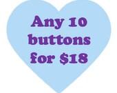 Button deal - Ten 1.25 inch buttons - Feminist button deal