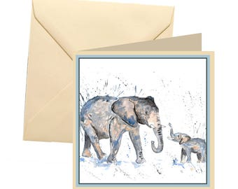 Elephant greetings card, blank card, greetings card, birthday card, note card, thank you card, elephant thank you card, elephant card