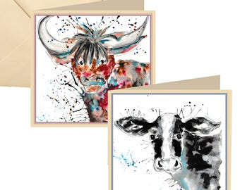 Multi pack cow cards, cow greetings card, highland cow card, pack of cards, 6 pack of cards, cow cards