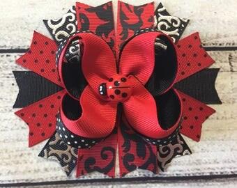 Ladybug Hair Bow Ladybug Hair Bows Ladybug hair clip Ladybug Stacked Hair Bow Ladybug Headband Girls Hair Bow ladybug baby Headband