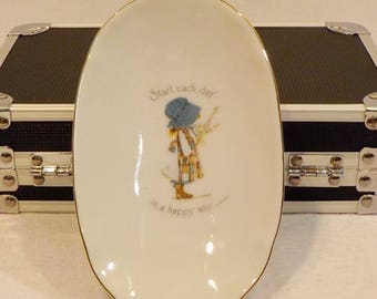 Holly Hobbie Gold Trim Soap Dish Made in Japan Vintage