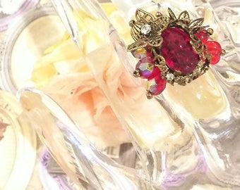 SteamPunk, Neo-Victorian, ring, Antique Gold, swarovski, Brass,Butterfly, filigree