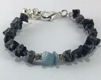 Handmade Men's Aquamarine Bracelet Men's Genuine Snowflake Obsidian Bracelet Men's Obsidian Bracelet Scorpio Jewelry Aries jewelry