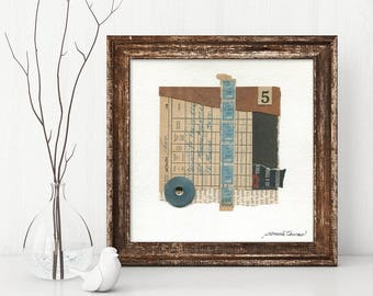 DELAYED GRATIFICATION mixed media abstract collage, original art, wall art, vintage papers