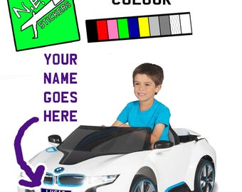 Personalised licence plate to fit kids' electric Avigo BMW i8 6 Volt Ride On number plate
