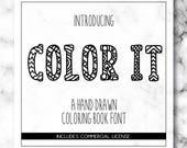 Color It Font - Coloring Book Font - Color It Typeface - Coloring Book OTF - Coloring Book For Silhouette - Coloring Book For Cricut - Font