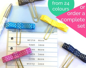 Bow Planner Clips and Bookmark White Polka Dot on 24 Colours Ribbon Page Marker Accessory Gift lot mixed set clip gold