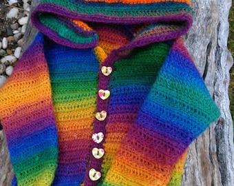 Crochet Childs Pixie Hooded Cardigan- Jacket - Coat