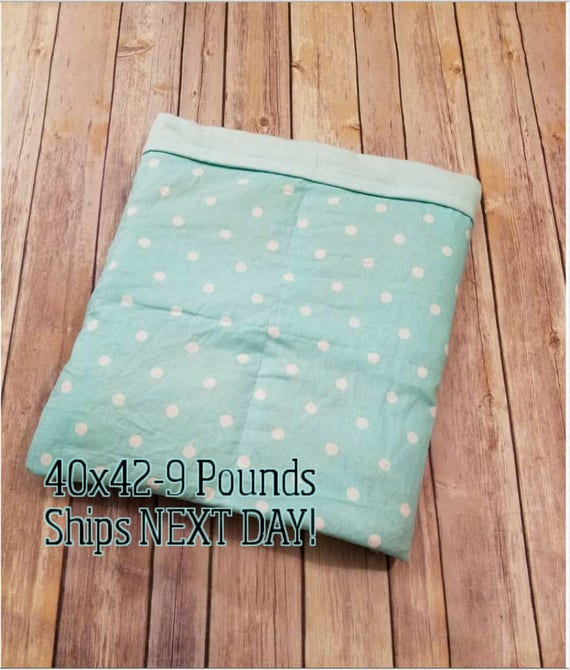 Mint Polka Dots, 9 Pound, WEIGHTED BLANKET, Ready To Ship, 9 pounds, 40x42 for Autism, Sensory, ADHD