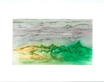 Imaginary landscape with the crayon drawing