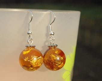 Amber resin earrings