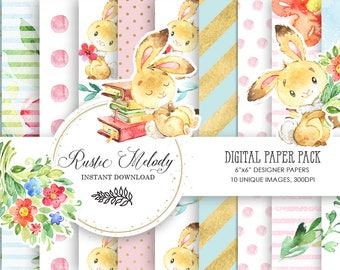 Digital paper,bunny paper, craft supplies,bunny scrapbook,planner supplies,paper pack,paper, watercolour paper,patterns