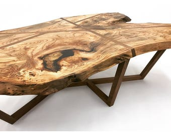 Live Edge Chinese Elm and Walnut Coffee Table