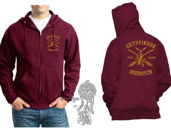 CHASER - Gryffin Quidditch team Chaser Yellow print printed on Maroon Zipper Hoodie