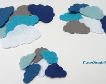 Felt Clouds A (3 sizes) , Filz Wolken, Felt shapes, Felt die cut clouds