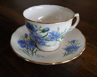 Royal Vale Teacup & Saucer, Blue Cornflower, c. 1960s, # 7513