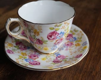 "Royal Stafford ""June Roses"", Rose Chintz, VintageTeacup & Saucer"