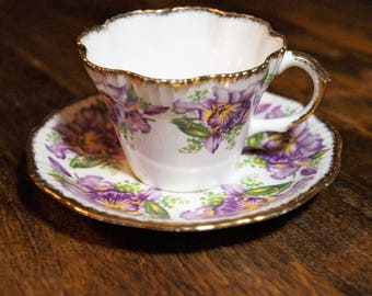 "Salisbury ""Garland"" Teacup and Saucer, Purlple Iris"