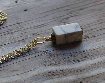 Howlite Genuine Gemstone Pendant Long Layering Necklace