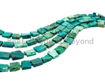 Quality Natural Chrysocolla Rectangle beads, 13-18mm, Natural Green Gemstone Beads,Chrysocolla Irregular Beads 15-16 inches strand, SKU#U171