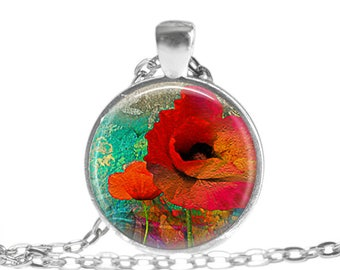 RED POPPY Pendant Necklace Poppy Gift Poppy Jewelry Flower Pendant Necklace Flower jewelry Mothers Day Gift Valentines Day Gift