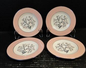 "FOUR Homer Laughlin Cavalier Springtime Bread Plates 6 1/4"" CV32 Pink Set of 4 EXCELLENT!"