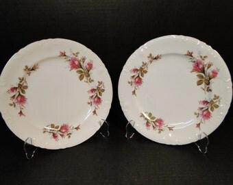 TWO Fine China of Japan Royal Rose Dinner Plates Vintage 50's Set of 2 EXCELLENT!