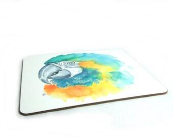 Macaw placemat original artwork watercolour