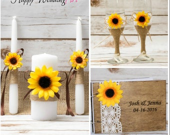 Sunflower Wedding Set of Guestbook Unity Candle set Wedding Glasses Sunflower Guest Book Wedding Candle Toasting Glasses Sunflower wedding